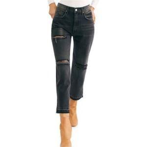 Free People Lita Crop Straight Leg Jeans Black